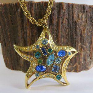 Large Swarovski Starfish Crystal Pendant Necklace